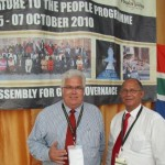 Legislature Leader Bobby Stevenson and colleague Edmund van Vuuren at the Taking Legislature to the People event in Alice.