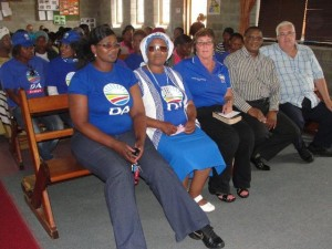Legislature leader Bobby Stevenson (far right) and other party members attended the memorial service of 17-year-old Cindy Gamanda, niece of DA activist Thabisa Tanda, who was brutally raped and murdered in Gqebera in Walmer Township. Stevenson has called people to join Community Policing Forums to assist the police in the fight against crime.