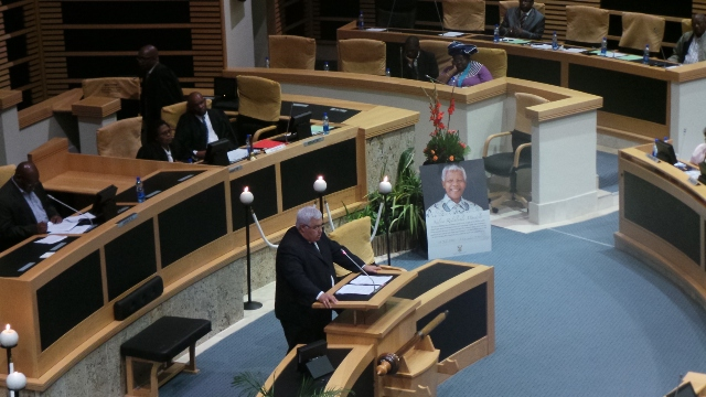 DA MPL and Chief Whip Bobby Stevenson speaking in the Eastern Cape Provincial Legislature during a special sitting to bring tribute to former President Nelson Mandela on Monday, 9 December 2013.