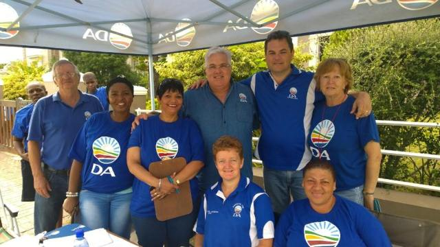 Bobby Stevenson, MPL (middle, back) and DA volunteers at Wednesday's by-election in ward 3 in Buffalo City.