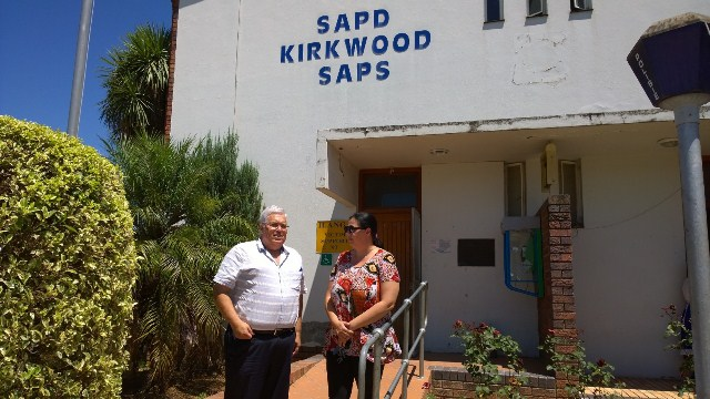 DA spokesperson on Safety and Security, Bobby Stevenson, and Sundays River Valley councillor Karen Smith outside the Kirkwood police station on Wednesday.