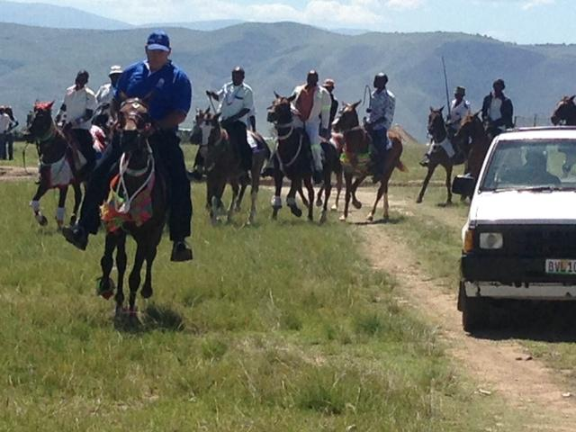 DA leader in the Eastern Cape, Athol Trollip, arrives on horseback at a public meeting in Ntabankulu this morning.