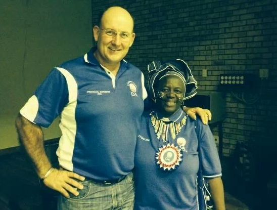Eastern Cape Leader and Premier candidate Athol Trollip and DA  National Assembly candidate Nosimo Balindlela in Somerset East on Monday.