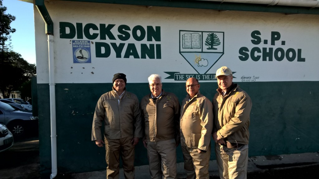 DA MPLs Kobus Botha, Bobby Stevenson, Edmund van Vuuren and Ross Purdon at the Dickson Dyani Senior Primary School in Mdantsane as part of the Bhisho legislature's Nelson Mandela Day campaign.
