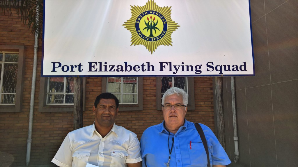 DA MPLs Marshall von Buchenroder and Bobby Stevenson, outside the offices of the Port Elizabeth Flying Squad.