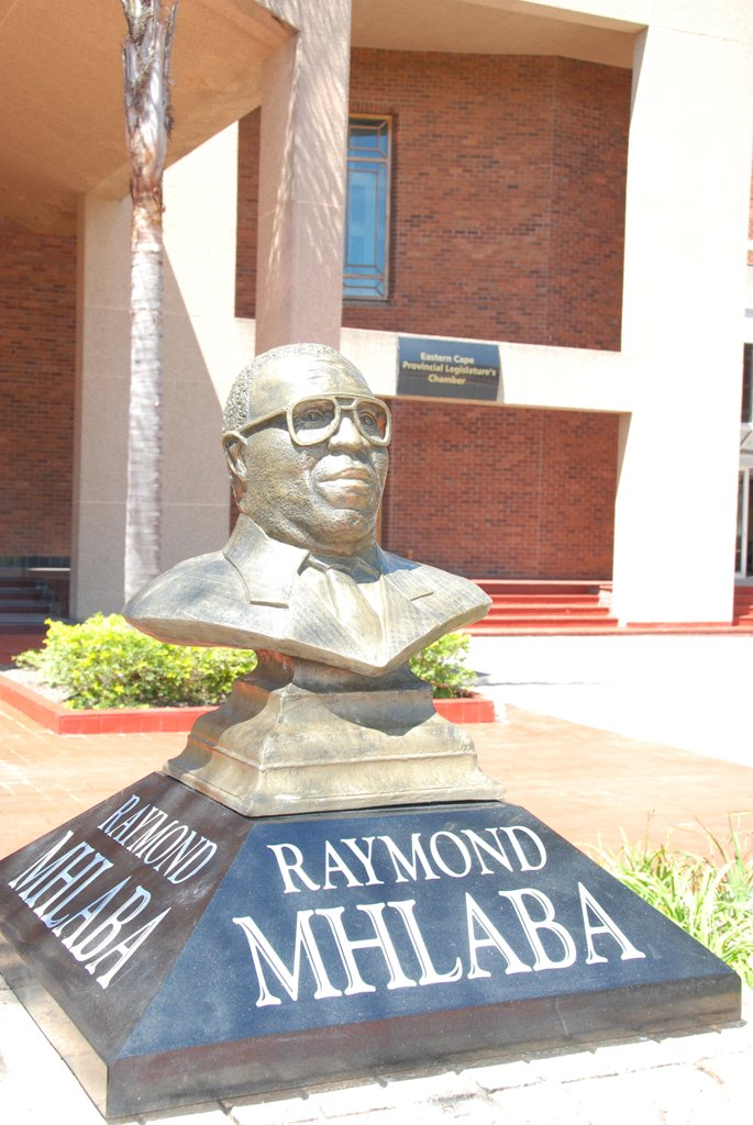 Raymond Mhlaba bust in front of the EC Legislature