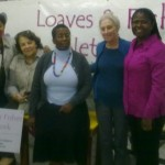 Veliswa Mvenya, far right, visited the East London-based charity Loaves and Fishes recently