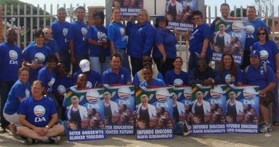 Dacre Haddon (MPL), far left, with the DA Youth during a recent information campaign in New Brighton in Port Elizabeth.