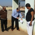 Bethelsdorp DA ward co-ordinator, Elizabeth Williams-Tshazibane (right) points out cracks in her house which have worsened over the years. With her is left, DA Councillor ward 34, AB Meyer, and provincial spokesman on housing, MPL Dacre Haddon, taking a closer look at the damage.