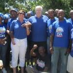 Legislature Leader Bobby Stevenson (middle) attended a DA Christmas party in Walmer Township in Port Elizabeth.