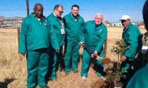 MPLs at the Mandela Day project of the Legislature in Matatiele.  From the left are the Speaker, Fikile Xasa, Dacre Haddon, John Cupido, Bobby Stevenson and Edmund van Vuuren.