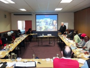 Bobby Stevenson does a presentation to councillors from the former Transkei area during a recent visit by the Bhisho MPLs to the region.