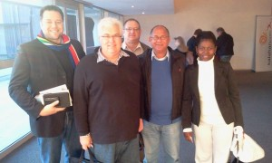 MPLs John Cupido, Bobby Stevenson, Dacre Haddon, Edmund van Vuuren en Veliswa Mvenya, at a leadership seminar by Robin Sharma.
