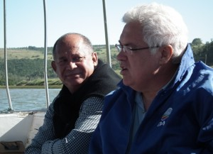 Edmund van Vuuren and Bobby Stevenson relaxing during a teambuilding session in Port Alfred recently.