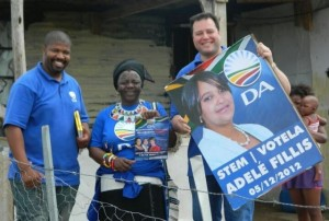 MPL John Cupido (right) took to the streets in a door-to-door campaign with DA ward councillor Zuko Mandile and activist Nosimo Balindlela before the recent ward 5 by-election in Queenstown.