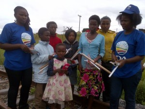 Veliswa Mvenya (MPL) and Mbashe councillor Tabisa Goniwe, distributed school stationery to needy children in Butterworth.