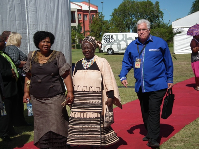 DA councillor Julia Gxalaba, Nosimo Balindlela and DA legislature leader Bobby Stevenson arrive at the State of the Province Address in Bhihso on Friday, 22 February 2013.