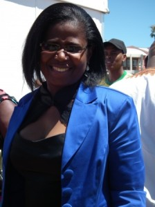 Blue wave…DA Eastern Cape provincial spokesperson and deputy leader Veliswa Mvenya at this year's State of the Province Address in Bhisho.