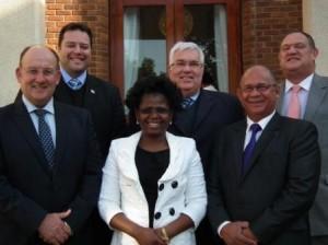 Caption: The DA caucus in the Legislature is from the front left: Athol Trollip (Legislature Leader), Veliswa Mvenya (Caucus Chairperson), Edmund van Vuuren. Back from left to right: John Cupido, Bobby Stevenson (Chief Whip) and Dacre Haddon