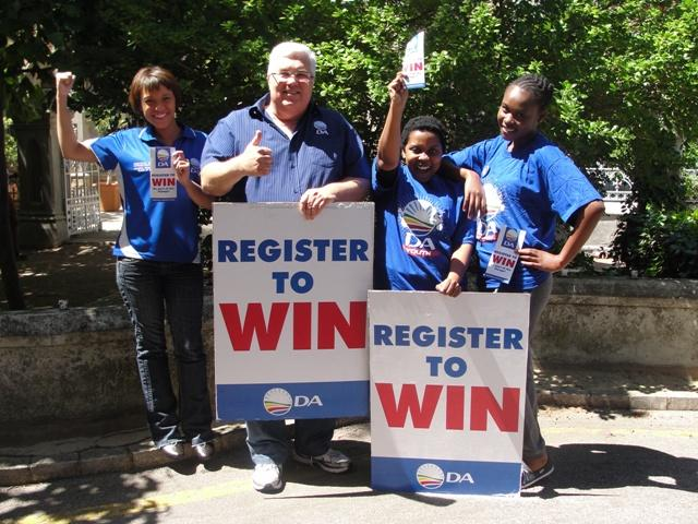 Voter registration takes place this weekend for next year's general elections.  From the left is Nicole Swartz, Bobby Stevenson (MPL), Phindi Sogoni and Khanyi Kwatcha.