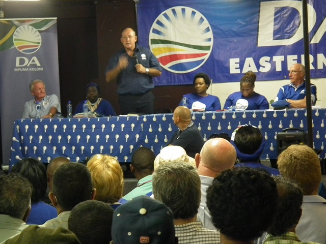 DA Provincial Leader Athol Trollip addresses a packed Turnbull Park Hall in East London on Wednesday evening.