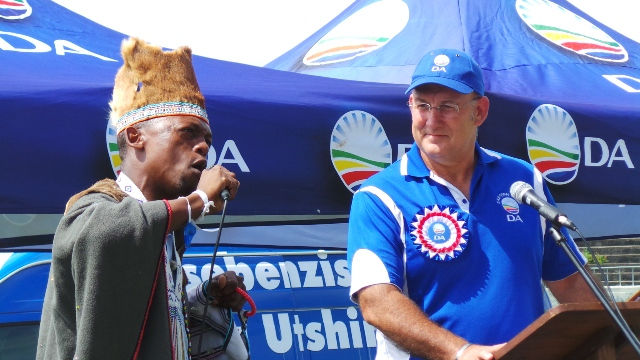 Praise singer Andile Gqitami with Athol Trollip, DA Leader in the Eastern Cape and candidate for Premier in the province at the Sisa Dukashe stadium in Mdantsane on Sunday, 16 March 2014.