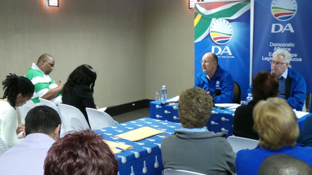 Leader of the official opposition in the Eastern Cape Legislature, Athol Trollip, and Chief Whip Bobby Stevenson addresses a press conference in East London on Wednesday, 16 June.