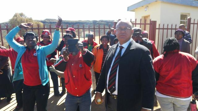 DA Shadow MEC for Education, Edmund van Vuuren, in front of the Sterkspruit Secondary School, where the legislature portfolio committee on education was prevented from entering the school by members of teachers union SADTU on Tuesday.